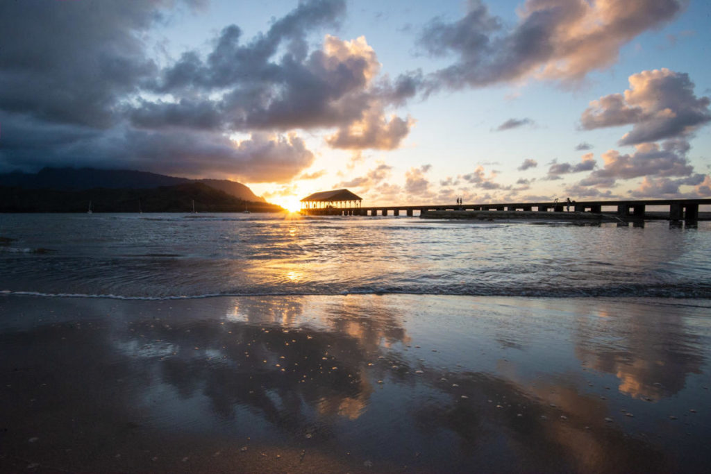 hanalei pier at sunset kauai north shore